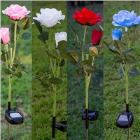 Solar Power 2 LEDs Flower Rose Garden Stake Landscape Lamp Outdoor Yard Party Decor CLH@8