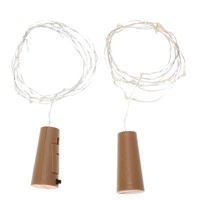 2pcs Waterproof Wine Cork String Starry Lights 15LED 1.4m Warm White and Colorful with Bottle Stopper for Party DIY Supplies