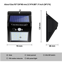 20 LED Solar Powered Outdoor Light Motion PIR Sensor Led Lamp Energy Saving Light Solar Wall Lamp Security Lights