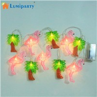 LumiParty LED Fairy String Light Coconut Palm Pink Flamingo Light for Xmas Festival Wedding Birthday Party Home Garden Decor