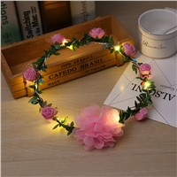 1pc LED Rose Flower Fairy Wreath String Light Wedding Garden Party Valentine\'s Day Decoration Christmas Headdress Decor P0.2