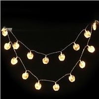 2.2m Crystal Apple lighting Warm white 20 LED string lights Party Wedding light Chilrden Room Decoration Patio Decorative
