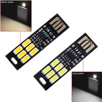 Mini Pocket Card USB Power 6 LED Keychain Night Light 1W 5V Touch Dimmer Warm Light for Power Bank Computer Laptop(5 Pcs)