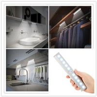 LED Night Light with Motion Sensor Closet Cabinet Lighting IR Infrared Battery Operated Motion Detector Lights Stairs Bookcase
