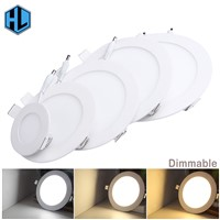 100pcs Ultra-thin Dimmable Real Full Power LED Panel Ceiling Lamp LED down light 3W/4W/6W/9W/12W/15W/18W/24W Warm/Cold White