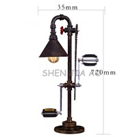 111V ~ 240V Iron pipe lights vintage iron water pipes desk lamp creative bicycle pedals Iron pipe desk lights 1pc