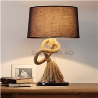 Creative hemp rope table lamp art retro cloth bedside table lamp decorated with hemp rope study lighting 110/220V