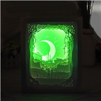 YAM Light Shadow Papercut Light Box LED USB Night Light Lamp Creative Paintings Lovers Small Lamp Night Light Packaging