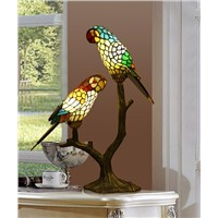 Tiffany ornaments parrot table lamp Color glass lamp American retro crafts  wedding gifts lighting desk lamps ZA9261137
