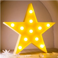 Christmas Title 3D Night Light Star LED Room Decoration Lamp Bedside Marquee Sign Battery
