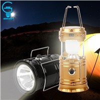 Rechargeable Solar Camping Light Portable Tent Lantern Collapsible LED Solar Powered Lamp For Outdoor Hiking Flashing Lighting