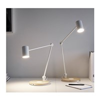Simple white LED work table lamps study bedside with wireless charger bedroom living room desk light ZA928434