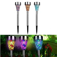 3Pcs/lot Outdoor Solar Powered LED Lawn Garden Light Rechargeable Lawn Path LED Glass Mosaic Lights Lawn Lamps