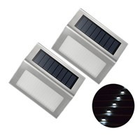 Stainless Steel Solar Garden Lights Solar Wall Lights Outdoor Solar Staircase Lights 3 LED Solar Powered Stair Lights