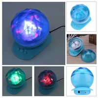 Magic Diamonds Ocean Projection LED Night Light Projector Novelty Lamp + Speaker USB Lamp Nightlight For Baby Children
