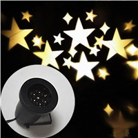 Rotation Warmwhite Stars Shape Projector Lamp Romantic Star Sky Fairy Spotlight for Indoor Outdoor House Garden Yard Decoration