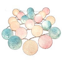 20pcs Sweet Pastel Cotton Ball with LED Battery Operated String Lights-Wedding Multicolor