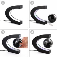 Novelty C Shape LED World Map Floating Globe Magnetic Levitation Light Antigravity Magic/Novel Lamp Birthday Home Dec Night lamp