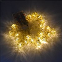 2M 20LEDs Battery Powered Metal Golden Ball Fairy String Lights Xmas Decoration