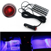 4pcs 9LED Car Charge Interior Foot Floor Atmosphere Light Strip Lamp Blue