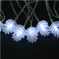2.5m 20LED Battery Powered Cute Pine Cone Fairy String Lights Warm Cute Charming Home Party Fairy Deco (White)
