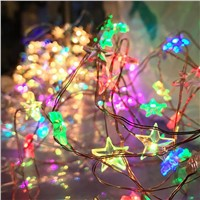 Copper Wire String Lights LED Fairy Lights Christmas Wedding decoration Lights 2017 LED Star Battery Operate twinkle lights