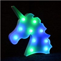IKVVT Creative Colorful Unicorn Head LED Night Light Up Table Lamp Kids Bedroom Home Decor