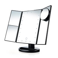 Three Folding Touch Screen Makeup Mirror Professional Vanity 21 LED Lights Health Beauty with 10X Magnifying