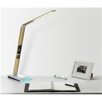 With calendar display dimmable led studying desk light Metal boday colorful touching switch