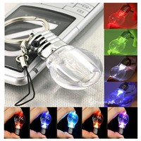 Mini LED Flashlight Light Bulb Rainbow Colors Keychain Key Ring Lamp Torch Gift L15