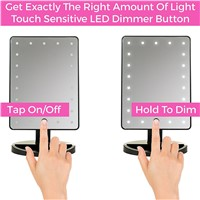 21 LED Lighted Makeup Mirror / Vanity Mirror with Touch Screen Dimming,180 dregee Swivel Rotation, Portable Convenience and Hig