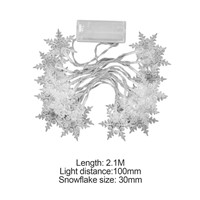 2.1M 20LED Snowflake LED String Lights Battery Powered Christmas Holiday Fairy Lights Winter Decor Lighting Strings