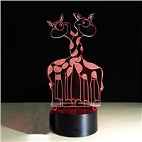 3D Lamp Visual Light Effect Touch Switch Colors Changes Night Light (Giraffe)