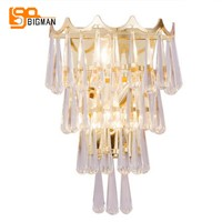 New Arrival luxury crystal wall lighting lustre gold wandlamp AC110V  220V modern wall lights for home