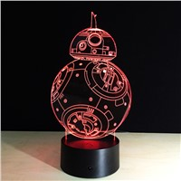 Star Wars BB-8 Robot RGB 3D Led Night Light Colorful Acrylic USB LED Table Lamp Creative Star Wars Action Figure Lighting