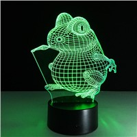 3D Lamp Visual Light Effect Touch Switch Colors Changes Night Light (Frog)