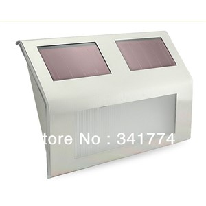 LED Luz De Solar Panel Powered Stainless Steel Step Stair Wall Street Lamp Fence Path Lights for Home Garden Outdoor Decoration