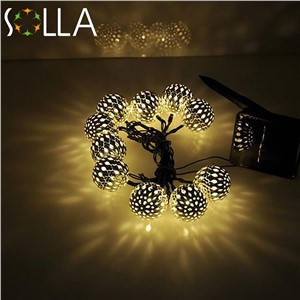 Warm white 10 Balls/Set Wholesale Moroccan String LED Fairy Lights Christmas Decoration LED Lamp Solar Powered