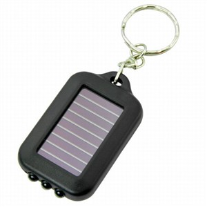 New Small Black Solar-powered LED Flashlight w/ Keychain handy neat bright