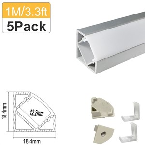 5-Pack LED Aluminum Profile 3.3ft/1m Silver V-Shape for 3528 5050 LED Bar Aluminum Channel with Cover End Cap Clips -V03S5