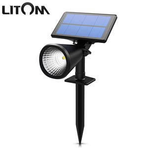 LITOM LED Solar Light 1 LED IP65 Waterproof Spotlight Outdoor Landscape Lighting Security Night Garden Panel Path Lawn Lampion