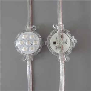 50mm diameter;DC24V;addressable;rgb full color;IP68;UCS1903 pixel module;with clear lens;7pcs 5050 led;1.68W