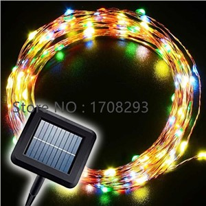 2PCS Solar Power 10m Copper Wire 100 LED Solar Power String Fairy Light Xmas Wedding Party Decor Lamp