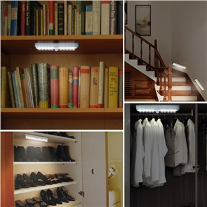 10 LED PIR Auto Motion Sensor Light Intelligent infrared Induction Lamp Night Lights for Cabinet Hotel Closet