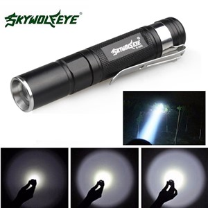 SKYWOLFEYE E522 Mini Penlight XPE LED Flashlight Zoomable Waterproof AAA Portable Pocket Pen Flash Light Torch Lamp