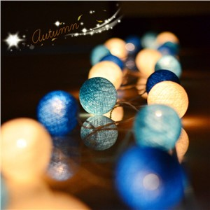 10/20/35 Cotton Ball Light Patio Party String Lights Fairy Wedding Decoration Christmas Decor Guirlande Lumineuse Boule