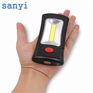 sanyi 2 Modes Portable COB LED Work Flashlight Light with Magnetic Folding Hook Hanging Torch For Camping Emergency Hiking AAA