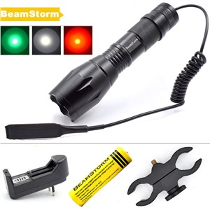 BeamStorm FL-15 Zoomable LED Flashlight 1000 Lumens T6 Q5 Green Red White Hunting Light AAA 18650 Battery Tactical Remote Switch