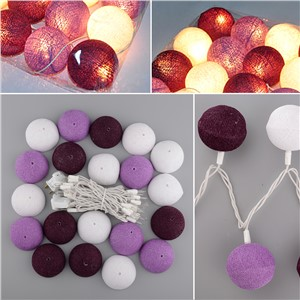 Aladin Gorgeous 3M 20 Purple Creative Handmade Cotton BALL String Light For Xmas Feast Banquet Ornament