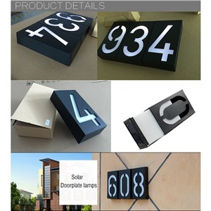 High Bright Solar Wall LED Lights Indicator Waterproof Street Doorplate Plaque Lamps Number Plate Lights House Number lampada